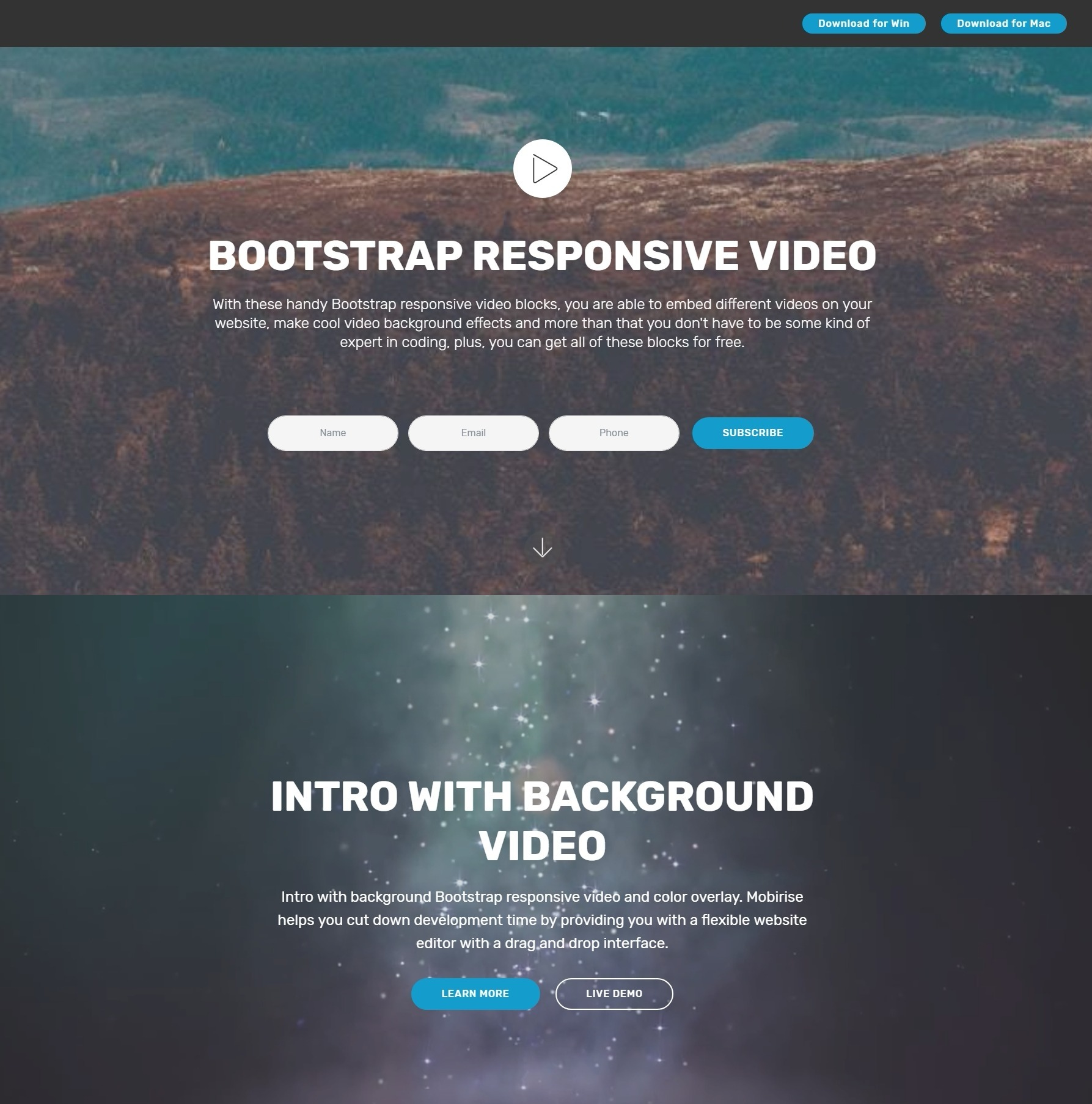 Beautiful and Inspiring CSS Bootstrap Modal Video Backgrounds and