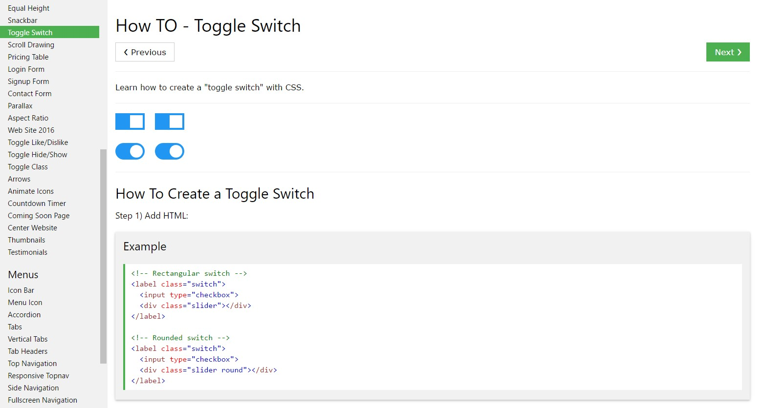 How you can  set up Toggle Switch