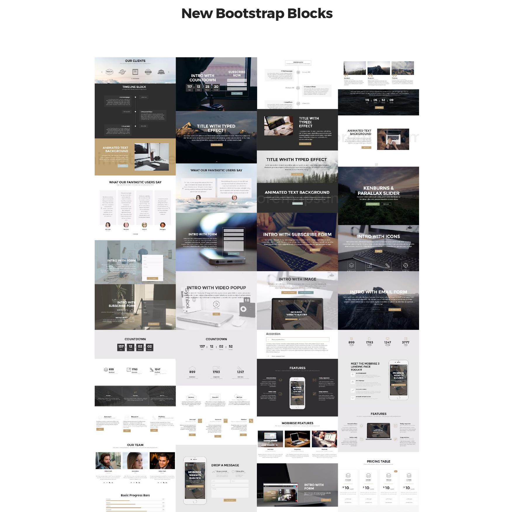 HTML5 Bootstrap 4 mobile-friendly blocks Templates
