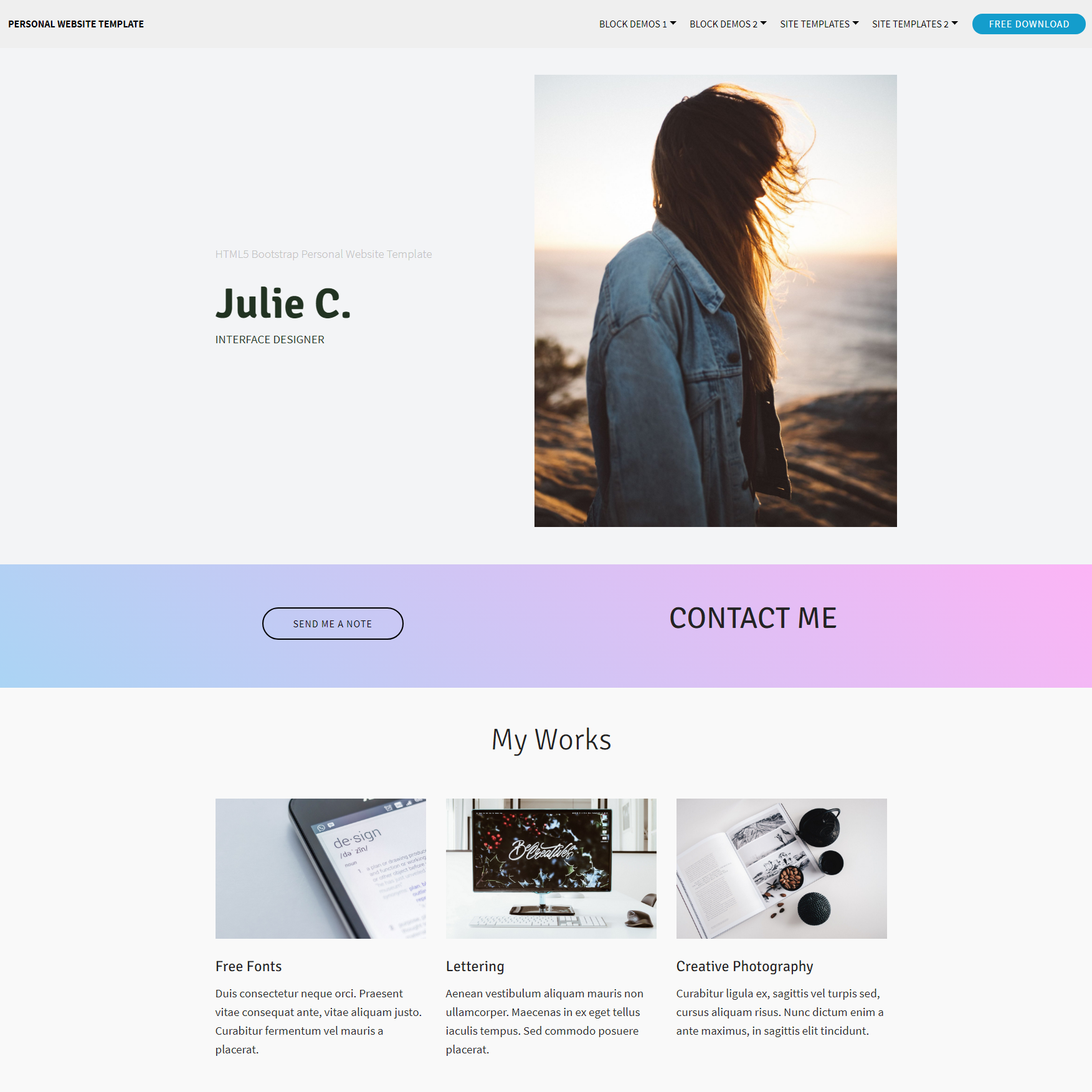 Free Download Bootstrap Personal Website Themes