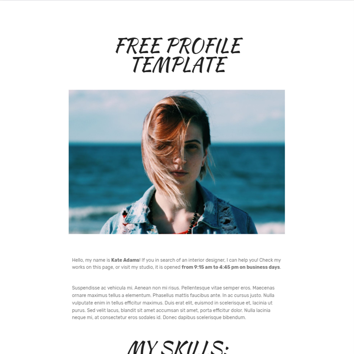 Free Bootstrap  Profile Templates