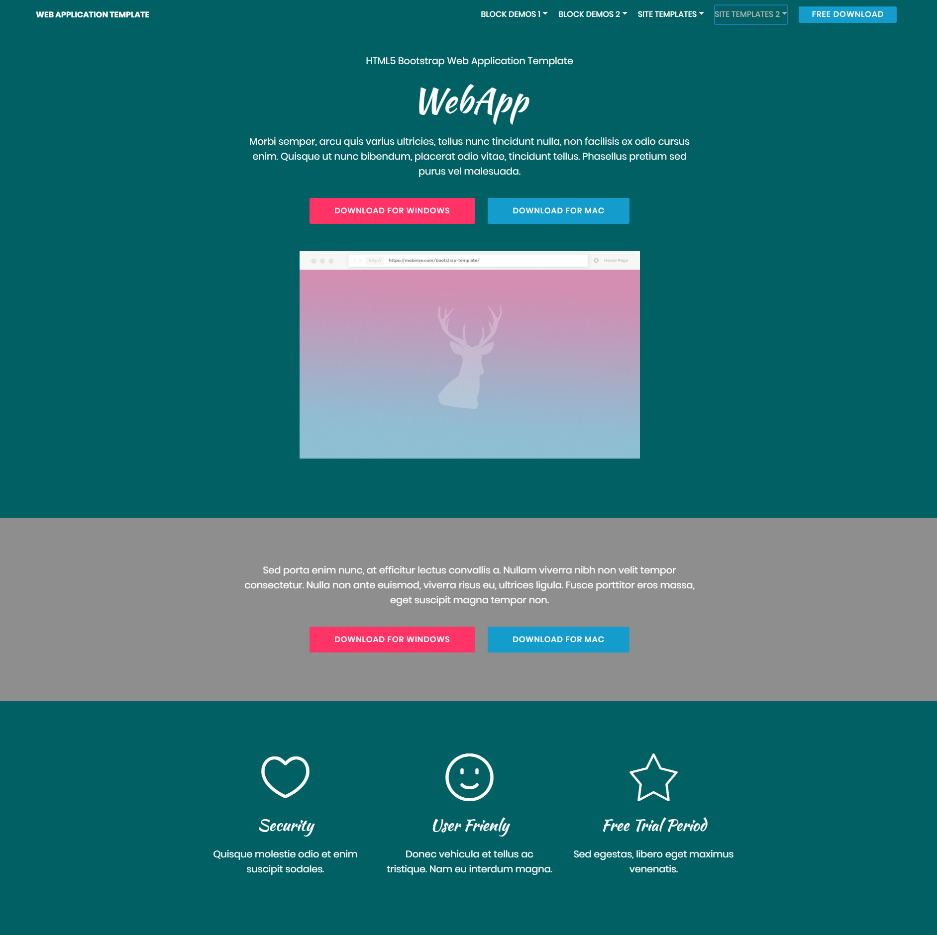 HTML Bootstrap Web Application Themes