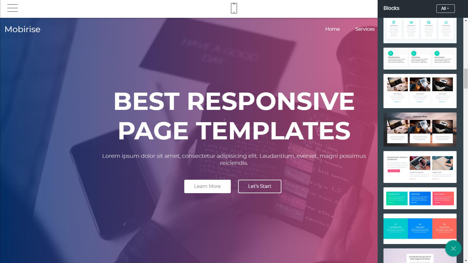 html5 webpage layouts